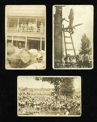 actual postcard souvenir from the lynching of John Hartfield